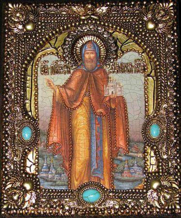 Икона именная Даниил Московский 19 х 23 см, роспись по дереву, позолота, самоцветы