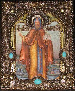 Икона именная Даниил Московский 19 х 23 см, роспись по дереву, самоцветы