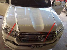 Хромированные накладки на капот для Toyota Land Cruiser 200 2015 -