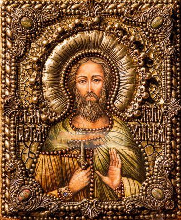 Икона именная Артемий Антиохийский 19 х 23 см, роспись по дереву, позолота, самоцветы