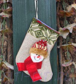 Новогодний носок маленький. Снеговичок