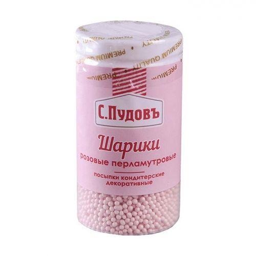 ПУДОВ Посыпка шарики перламутровые розовые 55 г