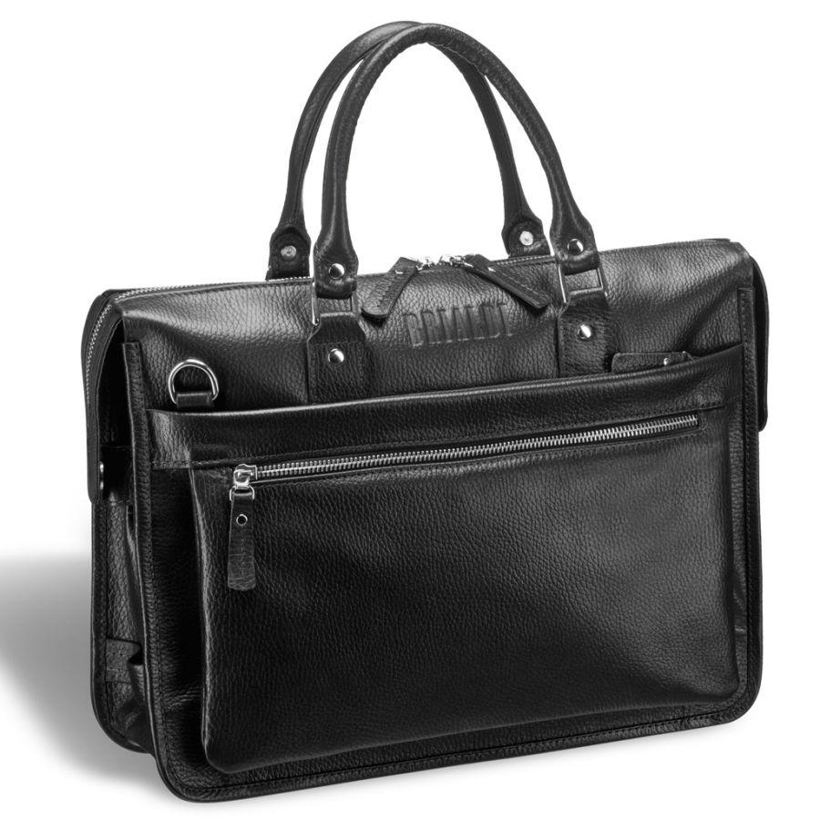 Классическая деловая сумка для документов Brialdi Pascal (Паскаль) relief black