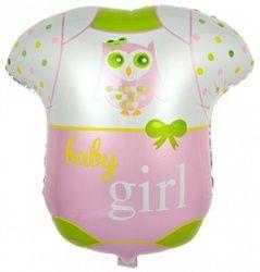 Боди для малышки - шар из фольги с гелием