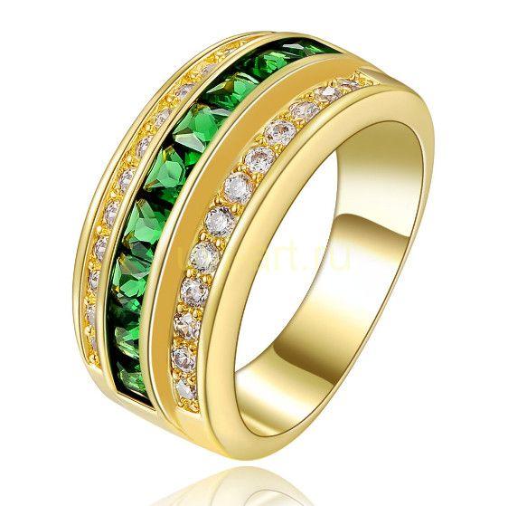 Позолоченное кольцо с искусственными изумрудами и бриллиантами (арт. 801117)