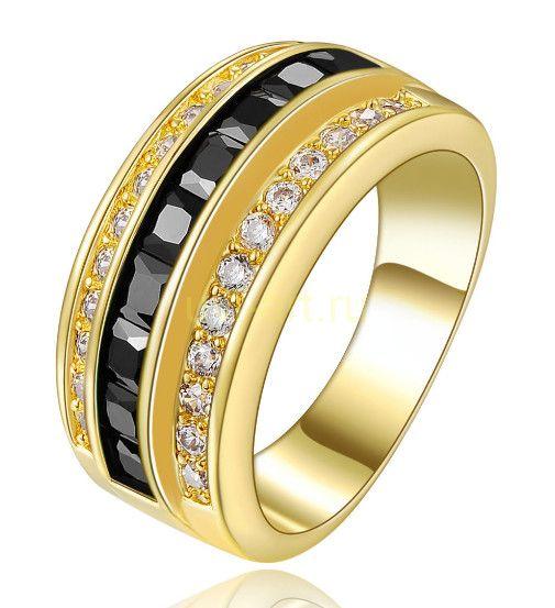 Позолоченное кольцо с ониксами и искусственными бриллиантами (арт. 900557)