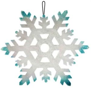 Пенопластовая снежинка серебряно-голубая, Ø 23 см