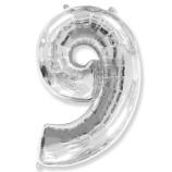 """Фигура """"9""""  (40""""/102 см) серебро"""