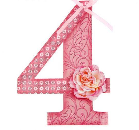 Цифра 4 розовая для фотосессии