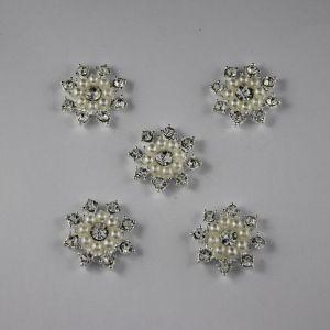 Кабошон со стразами, круглый, цвет основы: серебро, цвет стразы: белый, размер: 24мм (1уп = 10шт)