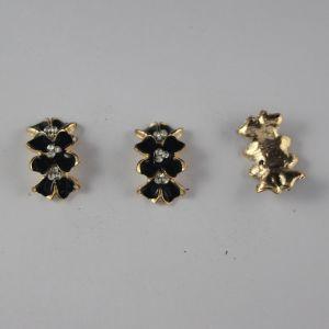 Кабошон со стразами, прямоугольный, дуга, цвет основы: золото, черный, цвет стразы: белый, размер: 24х14мм (1уп = 10шт)