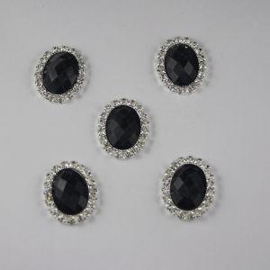 Кабошон со стразами, овал, цвет основы: серебро, цвет стразы: мрамор, черный, размер: 25х19мм (1уп = 10шт)