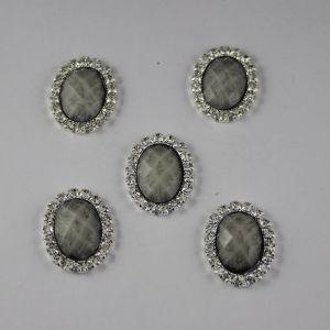 Кабошон со стразами, овал, цвет основы: серебро, цвет стразы: мрамор, серый, размер: 25х19мм (1уп = 10шт)