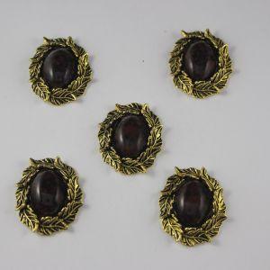 Кабошон со стразами, овал, листики, цвет основы: медь, цвет стразы: мрамор, темно-коричневый, размер: 31х25мм (1уп = 10шт)