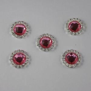 Кабошон со стразами, круглый, цвет основы: серебро, цвет стразы: светло-розовый, размер: 16мм (1уп = 10шт)