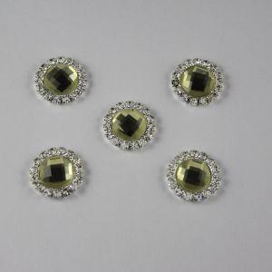 Кабошон со стразами, круглый, цвет основы: серебро, цвет стразы: светлый оливковый, размер: 16мм (1уп = 10шт)