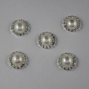 Кабошон со стразами, круглый, цвет основы: серебро, цвет стразы: белый, размер: 16мм (1уп = 10шт)