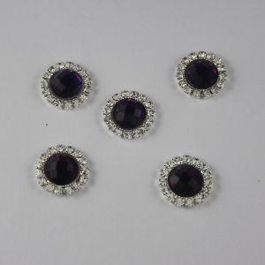 Кабошон со стразами, круглый, цвет основы: серебро, цвет стразы: фиолетовый, размер: 16мм (1уп = 10шт)