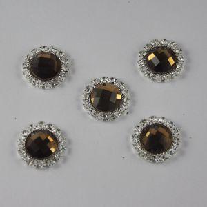 Кабошон со стразами, круглый, цвет основы: серебро, цвет стразы: коричневый, размер: 18мм (1уп = 10шт)