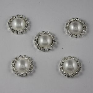 Кабошон со стразами, круглый, цвет основы: серебро, цвет стразы: белый, размер: 18мм (1уп = 10шт)