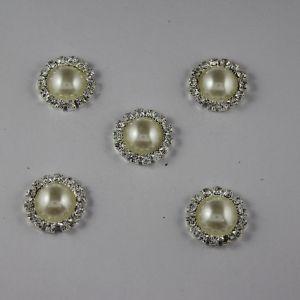 Кабошон со стразами, круглый, цвет основы: серебро, цвет стразы: кремовый, размер: 18мм (1уп = 10шт)