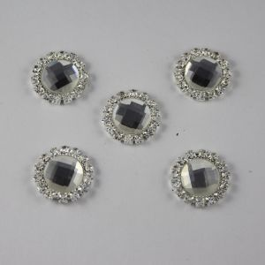 Кабошон со стразами, круглый, цвет основы: серебро, цвет стразы: прозрачный, размер: 18мм (1уп = 10шт)
