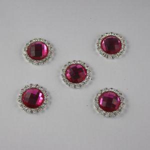 Кабошон со стразами, круглый, цвет основы: серебро, цвет стразы: ярко-розовый, размер: 21мм (1уп = 10шт)