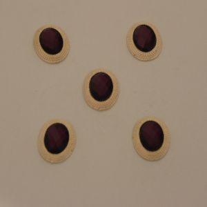 Кабошон со стразами, овал, цвет основы: золото, цвет стразы: фиолетовый, размер: 21х16мм (1уп = 10шт), Арт. КБС0277