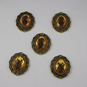 Кабошон со стразами, овал, цвет основы: медь, цвет стразы: желтый, размер: 29х24мм (1уп = 10шт)