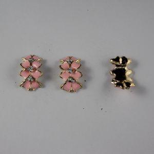 `Кабошон со стразами, прямоугольный, дуга, цвет основы: золото, розовый, цвет стразы: белый, размер: 24х14мм
