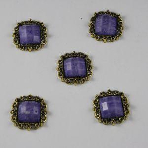 `Кабошон со стразами, квадрат, цвет основы: медь, цвет стразы: мрамор, сиреневый, размер: 20мм