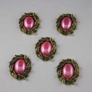 `Кабошон со стразами, овал, листики, цвет основы: медь, цвет стразы: ярко-розовый, размер: 31х25мм