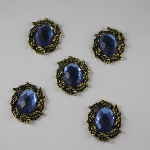`Кабошон со стразами, овал, листики, цвет основы: медь, цвет стразы: светло-синий, размер: 31х25мм