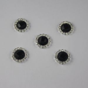 `Кабошон со стразами, круглый, цвет основы: серебро, цвет стразы: черный, размер: 16мм