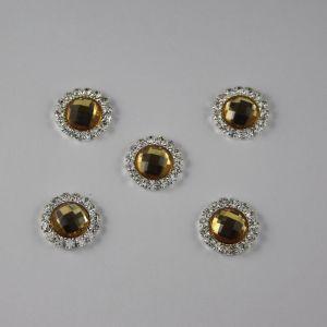 `Кабошон со стразами, круглый, цвет основы: серебро, цвет стразы: желтый, размер: 16мм