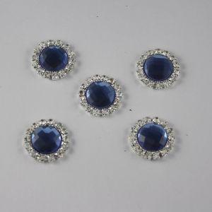 `Кабошон со стразами, круглый, цвет основы: серебро, цвет стразы: светло-синий, размер: 18мм