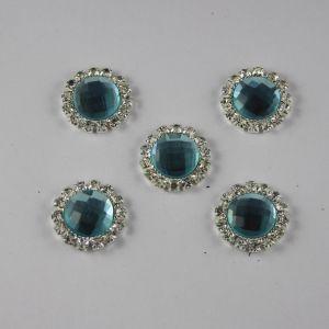 `Кабошон со стразами, круглый, цвет основы: серебро, цвет стразы: голубой, размер: 18мм