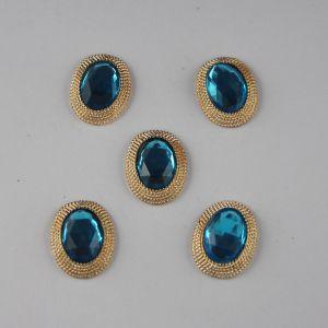 `Кабошон со стразами, овал, цвет основы: золото, цвет стразы: голубой, размер: 21х16мм