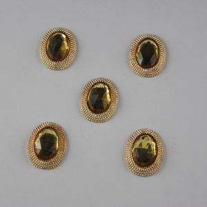 `Кабошон со стразами, овал, цвет основы: золото, цвет стразы: желтый, размер: 21х16мм