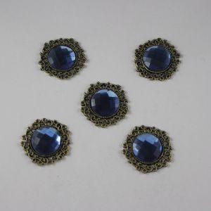 `Кабошон со стразами, круглый, цвет основы: медь, цвет стразы: синий, размер: 23мм