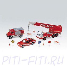 """Welly Велли Игровой набор машин """"Пожарная служба"""" 10 шт."""