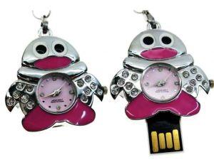 Флешка-Часы Пингвин розовый