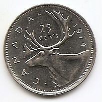 25 центов Канада 1974(регулярный выпуск)