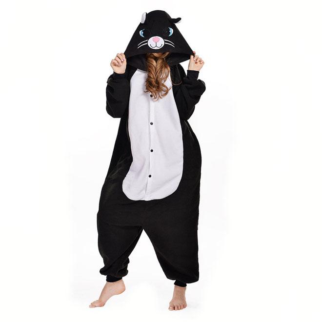 Пижама Кигуруми Кошечка Черная Премиум