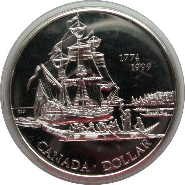 Канада 1 доллар 1999 г. Открытие островов королевы Шарлотты