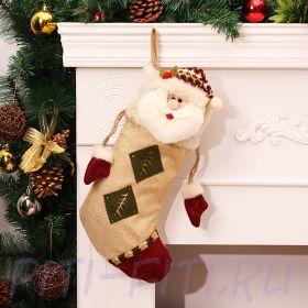 Рождественский чулок утягивающийся Дед Мороз