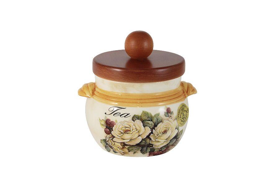 """Банка для сыпучих продуктов с деревянной крышкой (чай) """"Роза и малина"""", 0.5 л"""
