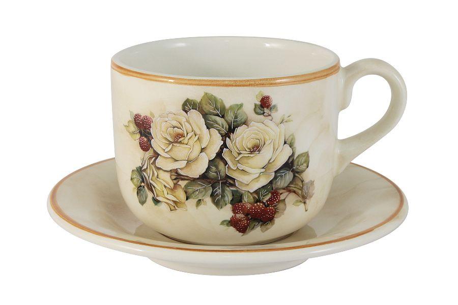 """Чашка с блюдцем """"Роза и малина"""", 0.5 л"""