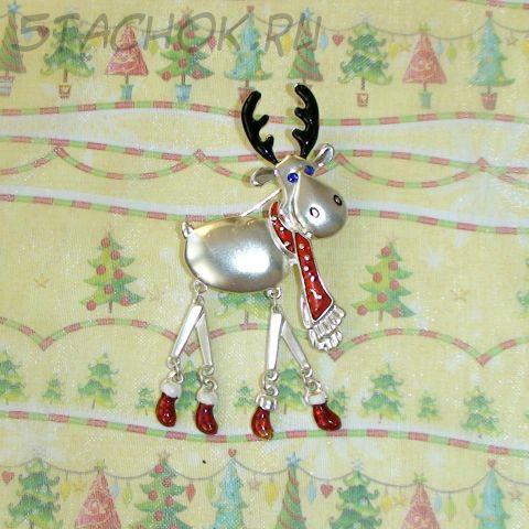 """Брошь """"Рождественский лосик"""" под серебро, эмаль, стразы"""