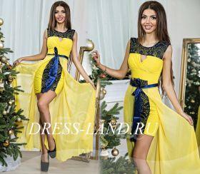 Желтое вечернее платье со съемной юбкой